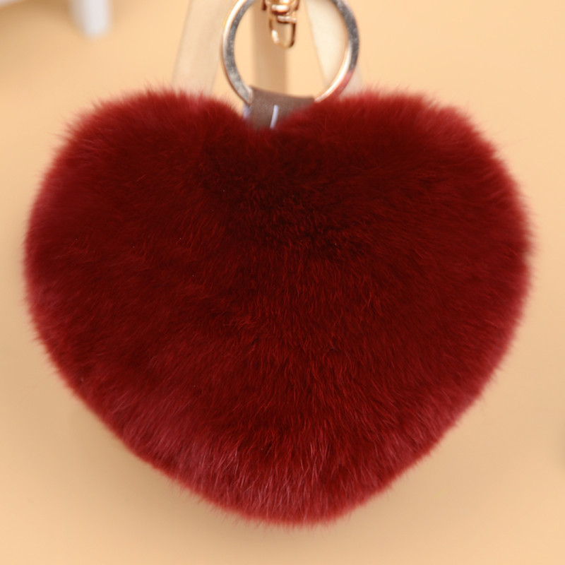 2016 new Rabbit fur key chains, heart-shaped pendant genuine fur bag, cell phone, car keys accessories, creative gifts(China (Mainland))