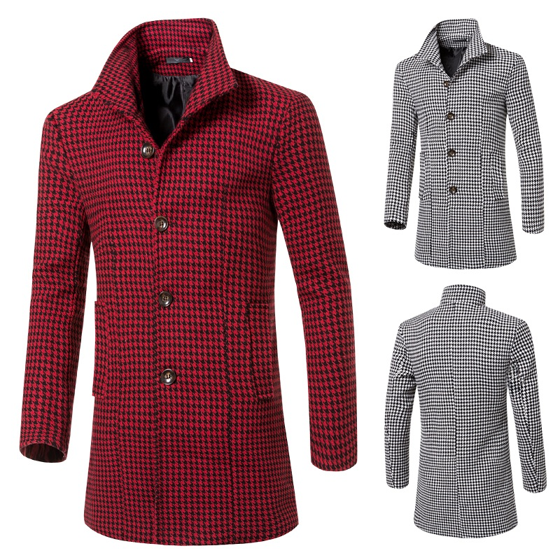 Korean Style Fashion 2015 Single-breasted Plaid Men Wool Trench Coat Long Stand Collar Slim Wool Long Men Trench Overcoat M-3XLОдежда и ак�е��уары<br><br><br>Aliexpress