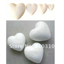 Free shiping wholesale 9.4cm natural white styrofoam heart foam for nylon stocking flower accessories and diy crafts(24pcs/lot)(China (Mainland))