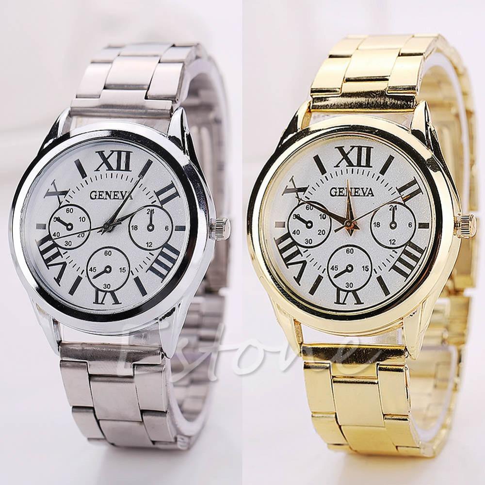 Free Shipping LUXURY Geneva Women Men Roman Numerals Stainless Steel Analog Quartz Wrist Watch S127