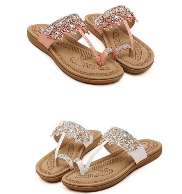 2016 New flip flops sapato feminino European American women sandals rhinestone flats sandals slippers sandalias mujer s184