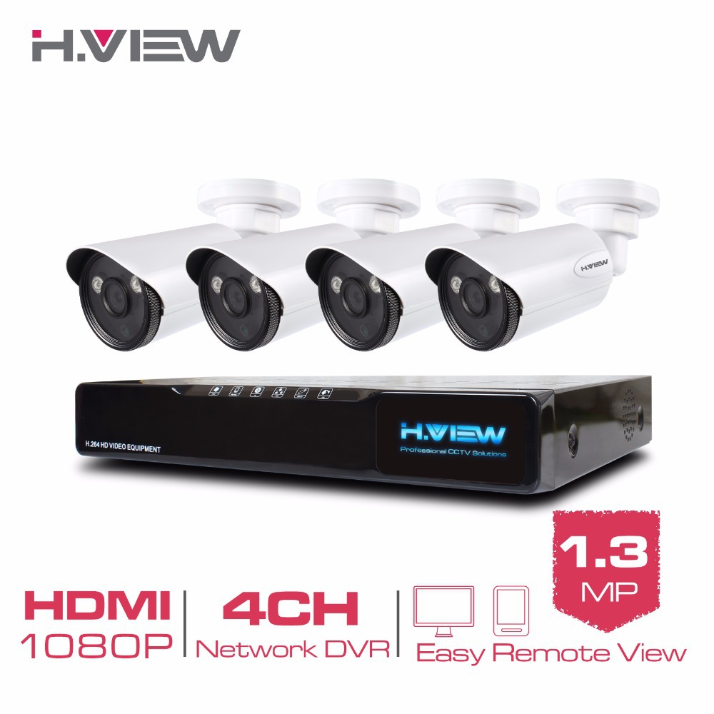 H.View 4CH CCTV NVR System 4 Channel POE 1080P Video Ourput 1.3 mp 960P Weatherproof IP Camera Security  -  SYSTEM Store store