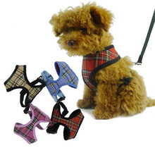2016 Hot Sale Dog Puppy Cat Soft Mesh Harness Collars Plaid Tartan Checkered Dogs Pets Adjustable Harnesses Lead Leash
