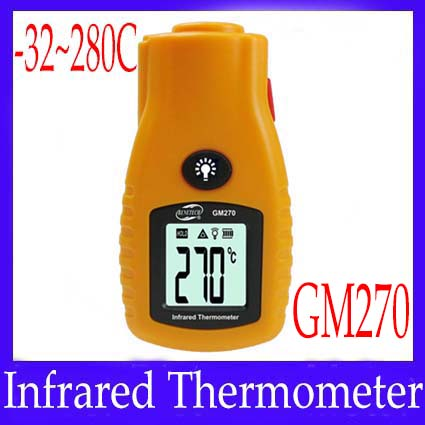 Portable industria IR thermometer infrared thermometer GM270 temeprature meter 2pcs/lot free shipping(China (Mainland))