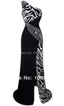 Angel-fashions una spalla zebra pietre preziose cuciture abito da sera nero(China (Mainland))