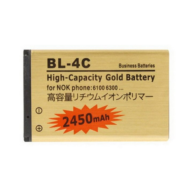 1pcs Business High Capacity Battery 2450mAh BL 4C BL 4C Golden Phone Batteries For Nokia 6300