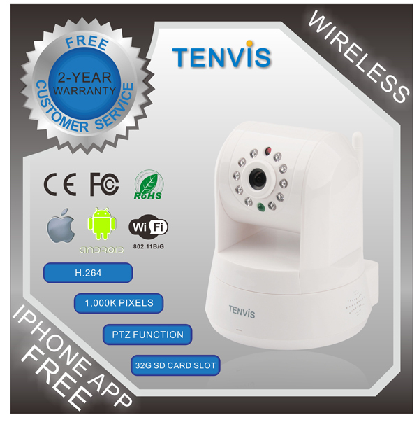 Hot+New TENVIS IPROBOT 3 Wireless Network WIFI H.264 PTZ Control 1Megapixel HD Wireless IP Camera CCTV Camera Supprt 32GB card(China (Mainland))