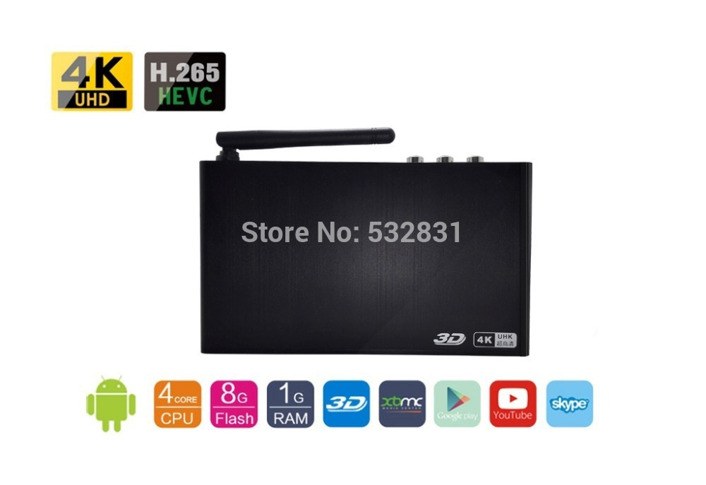 BFS 4K Resolution Quad Core Android 4.4 TV Set Top Box XBMC H.265 Smart Media player 3D BD ISO DTS Dolby DLNA Miracast Airplay(China (Mainland))