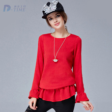 On sale L-5XL plus size women ruffles sweater red fashion women autumn knitted pullover 2015