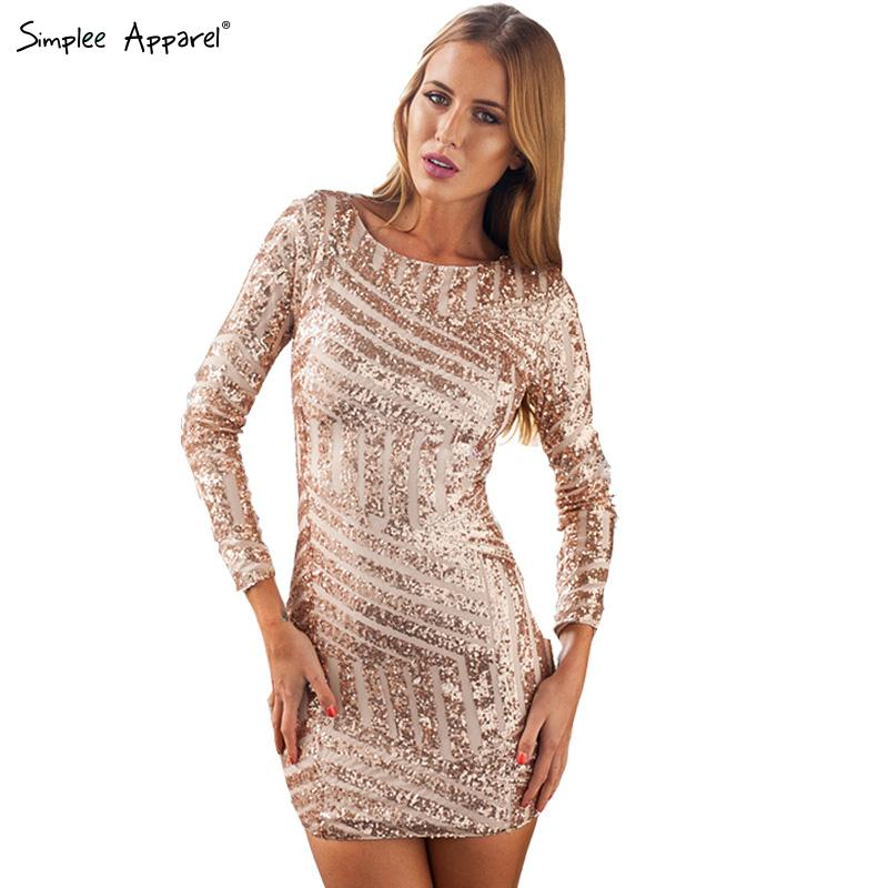 Long Sleeved Sequin Mini Dress - KD Dress