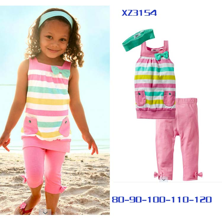 EMS/DHL free shipping NEW!spring autumn summer Multicolour girl kids set 3pieces suit hairband+clothes+shorts10set/lot#IT(China (Mainland))