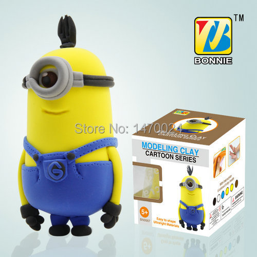 2014 New Superheroes Handgum Polymer Clay Plasticine play dough 3D Colorful DIY Despicable Me2 Thin Tall Minions BN9987-2 Yellow(China (Mainland))