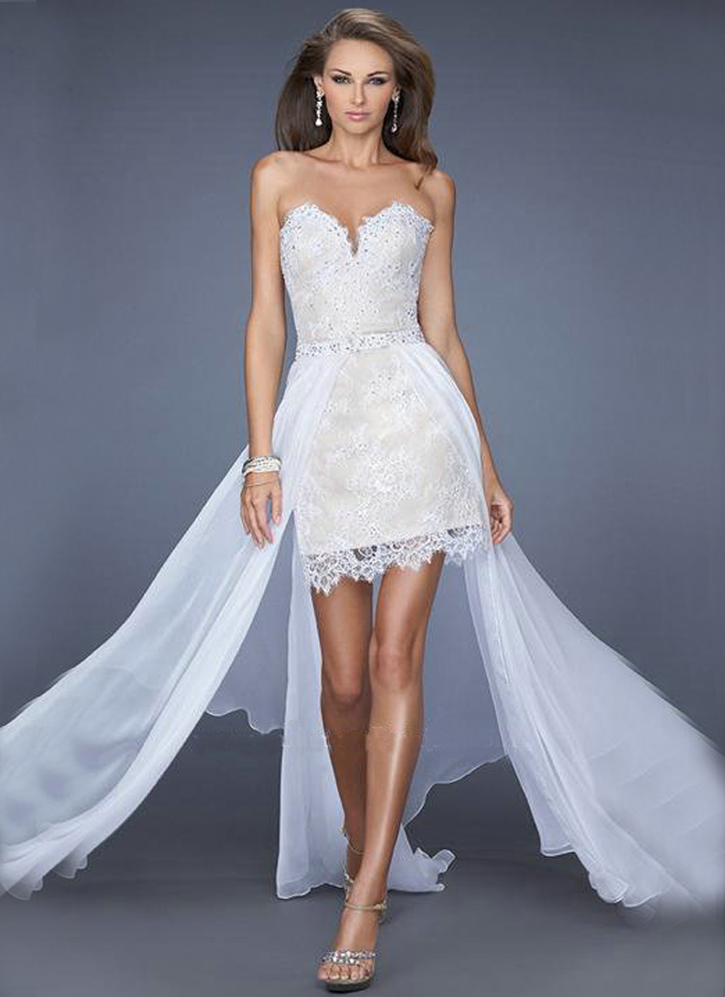sweetheart high low white prom dresses lace chiffon hi low