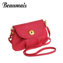 Beaumais Dumplings shape mini small women messenger bags candy color shoulder pu leather bag women clutch bag wallet HB002