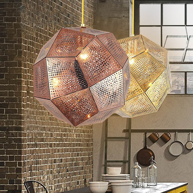 32CM Tom Dixon Etch Shade pendant lamp light Stainless Steel suspension Dining Room Restaurant Coffe Bar brass chrome gold(China (Mainland))