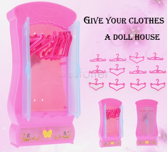 Hot Sale Children Kids Baby Girls Cute Lovely Mini Toy Wardrobe Furniture Closet for Barbie Dolls With 12pcs Clothes Hangers 36(China (Mainland))