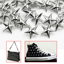 100pcs/Lot Silver Tone Star Spots Studs Rivets Spikes for Punk Rock Shoes Bag Belt DIY Leathercraft Decoration Accessories(China (Mainland))