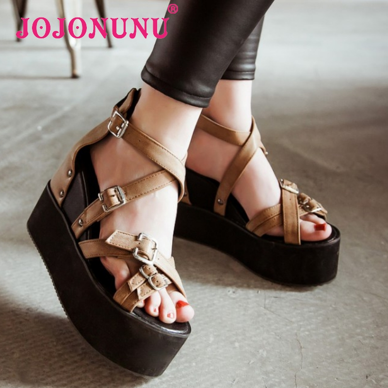 women patchwork ankle strap wedge high heel sandals lady sexy footwear fashion heeled heels shoes size 32-42 P18114