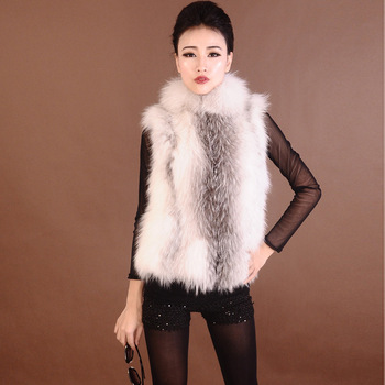 2013 women's fur raccoon fur full leather stand collar small vest outerwear women's winter small lap