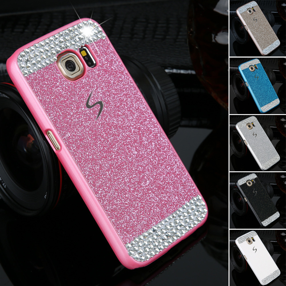 Diamond clear crystal cell phone case for Samsung Galaxy S6 S6Edge S7 S7 Edge Fashion Glitter powder rhinestone bling back cover