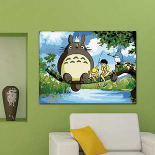 Diy digital oil painting hand painting child cartoon decorative totoro paint by number painting kits gift for kids free shipping(China (Mainland))