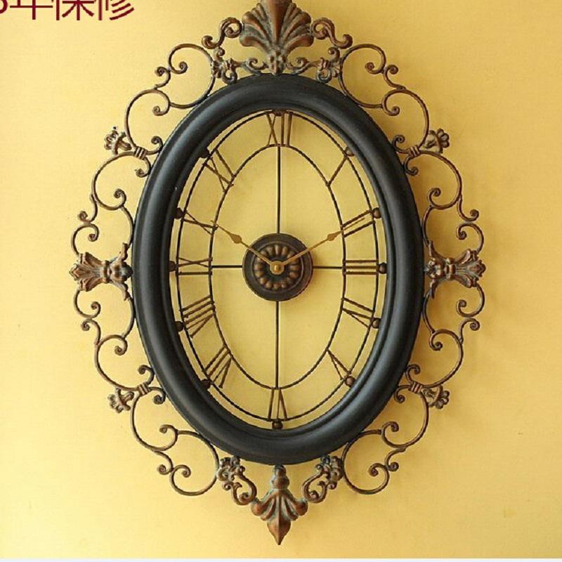 Wrought iron wall clock wanduhr home decor modern design for Iron wall decor