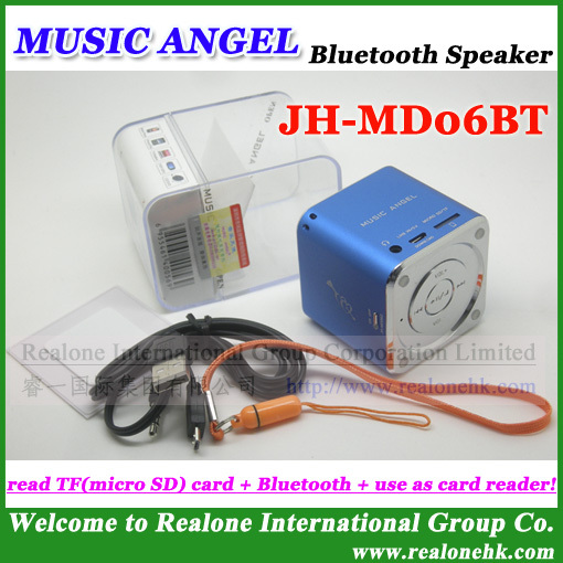 Newest version MD06BT02 Bluetooth Mini Speaker MUSIC ANGEL Stereo box with bluetooth function,support TF card (4pcs/lot)(China (Mainland))