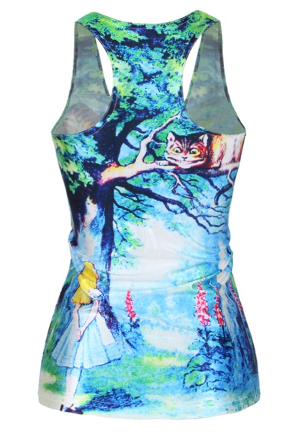 Alice au pays des merveilles nouveaux femmes t - shirt 3D imprimé femmes écran de vêtements débardeur imprimé femmes livraison gratuite vêtements(China (Mainland))
