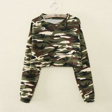 M/L/XL Fashion New Women Casual Camouflage Long Sleeve T shirts Long Sleeve Crop Top  Camouflage Hoodies High Waist Pullovers(China (Mainland))