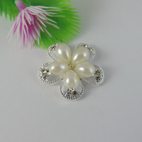 10 PCS Silver Tone Alloy Flower Tray with Faux Pearl Cabochons Jewellry Findings  24*24*6mm 39075