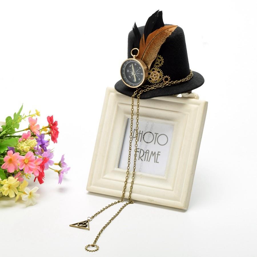 1pc Girls Steampunk Small Top Hat Hair Clip Gears
