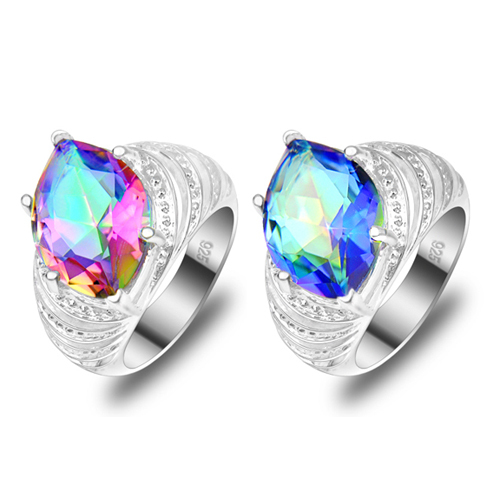- top selling 2015 rianbow fire rings christmas gift 925 silver jewelry brand casual beads ring . Ulike Jewlery store