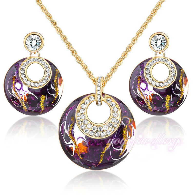 retro vintage enamel jewelry sets earrings necklace set