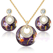Mytys Retro Vintage Enamel Jewelry sets Earrings Necklace Set Purple Jewelry 18K Gold Plated N943(China (Mainland))