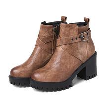MoonMeek mode hitam coklat sepatu wanita round toe ritsleting wanita sepatu gesper ankle boots persegi heel musim dingin tetap hangat(China)