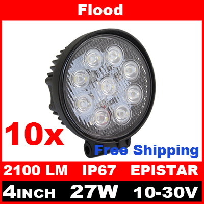 10pcs 4 Inch 27W LED Work Light Bar for Indicators Motorcycle Driving Offroad Boat Car Tractor Truck 4x4 SUV ATV Flood 12V(China (Mainland))