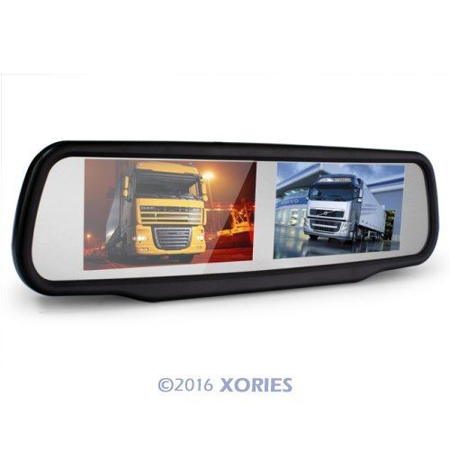 Car Rear View Mirror Monitor Two Lcd Screen For Video Dvd Auto Detect Reversing(China (Mainland))