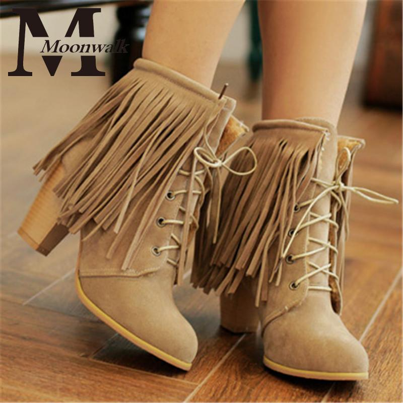 MOON WALK 2015 Womens shoes Fringe Tassels high Heels ankle boots lace up  leather red Plus Size 34-43 zapatos femininas X0709<br><br>Aliexpress