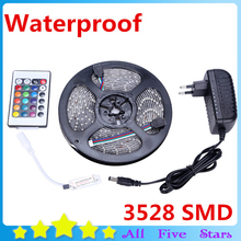 Waterproof LED Strip 5M 300Leds 3528 SMD with 12V 2A Power Adapter, 24key Mini Remote Controller only for RGB Strip Light