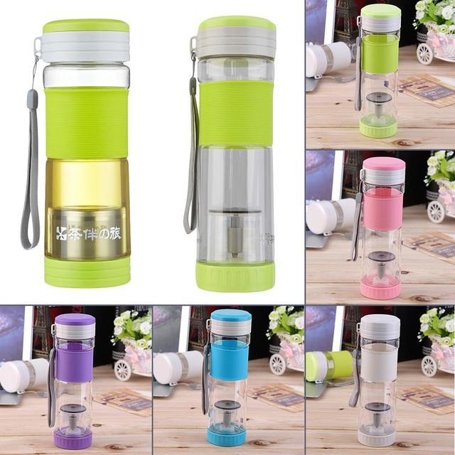 Новый здоровый портативные путешествия спорт чай вода печать бутылки 550 мл кружка с фильтр фильтр бутылки уплотнения серый