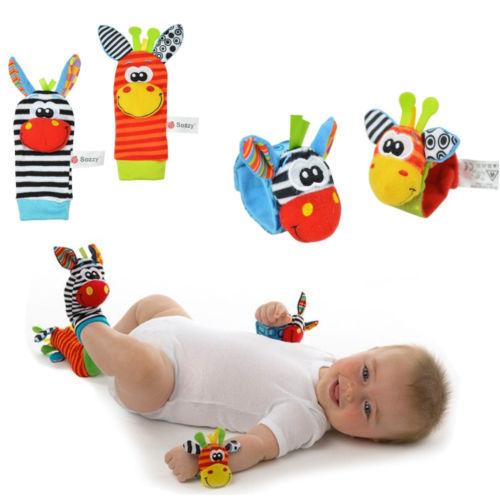 2015 New A Pair Baby Infant Toy Soft Handbells Hand Wrist Strap Rattles/Animal Socks Foot Finders Developmental Toys(China (Mainland))