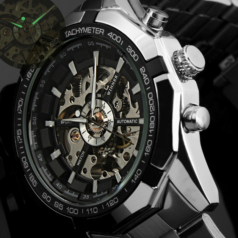Winner Brand Luxury Sport Watch Mens Automatic Skeleton Mechanical Wristwatches Fashion Casual Stainless Steel Relogio Masculino(China (Mainland))