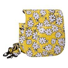 Lovely Flower Denim Fabric Camera Bag Case with Shoulder Strap for Fujifilm Instax Mini 8 Fuji Film Camera (Yellow)