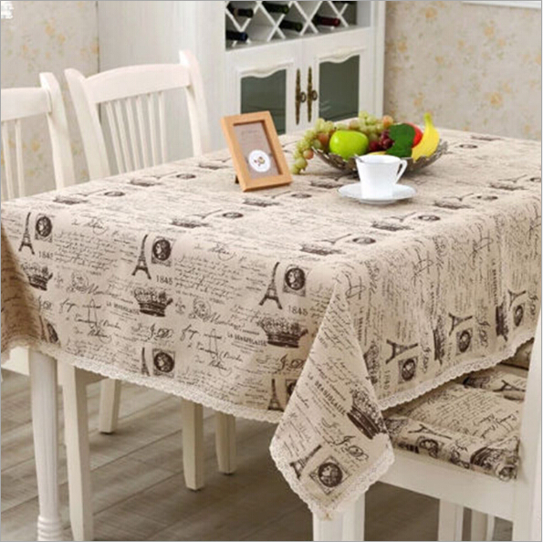 New arrival Europe style a small crown linen cotton table cloth Universal fabric Christmas rectangular tablecloth hot sale(China (Mainland))