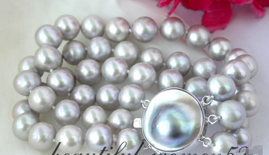 FREE SHIPPING Z2364 GREAT 3strands 8 11mm round gray freshwater pearl bracelet silve<br><br>Aliexpress