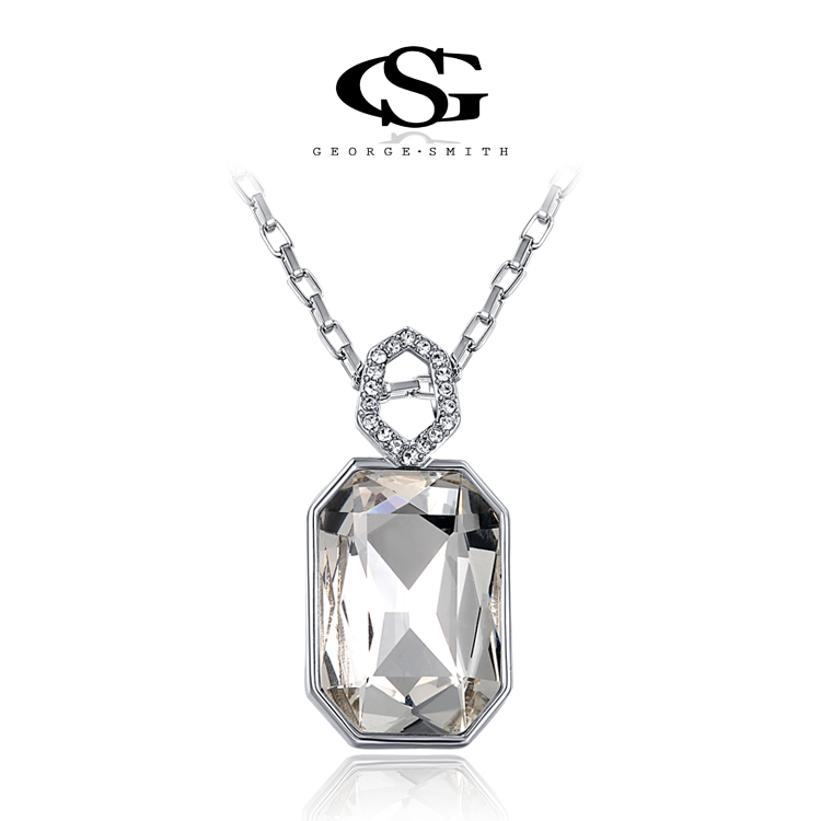 G&S Gift Genuine Gold Plated Austrian Fashion Chain platinum Necklace Multi-Literal Pendant Big OFF For Party Silver Jewelry(China (Mainland))