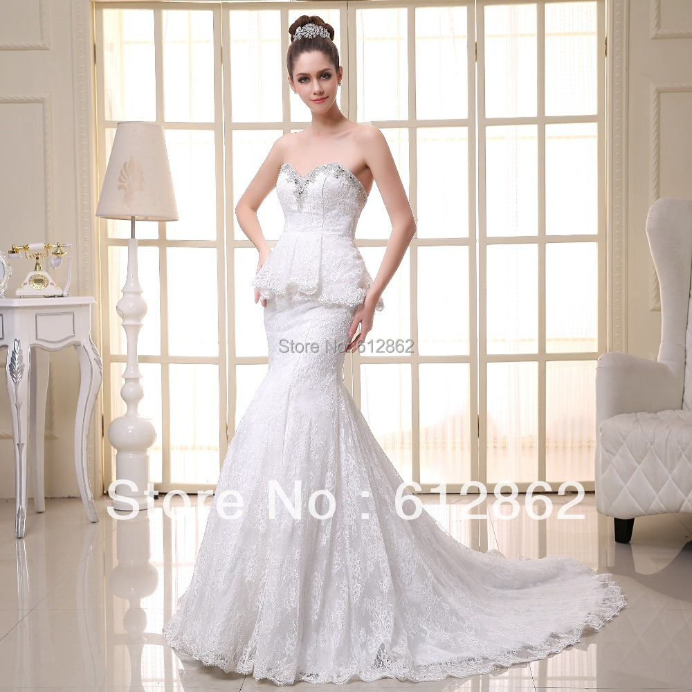 Simple but elegant mermaid beaded neckline long train for Beaded lace mermaid wedding dress