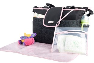 ORIGINAL VERSION shouler diaper bag pink messenger nappy black printing mummy microfiber baby - Blue's Store store