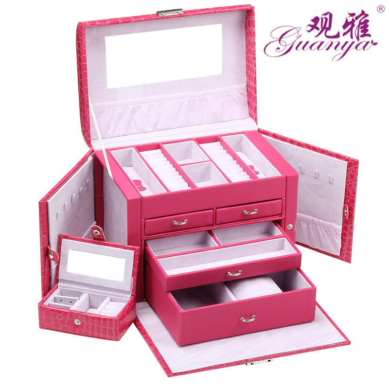 Guanya Jewelry Box Organizer witg Mirror lock Ring Necklace Earring Leather Storage Case Jewelry Carrying Cases Hot Selling(China (Mainland))