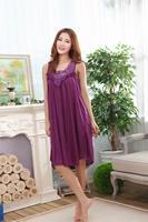 Летние новые корейские кружева сексуальная ночная рубашка женщины рукавов лед шелковые пижамы прохладно и комфортно домашняя одежда